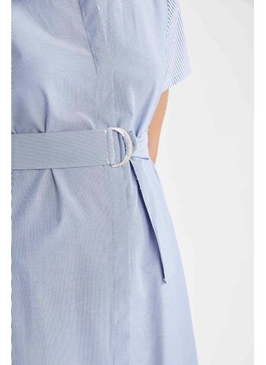 DeFacto Çizgili Kemer Detaylı Relax Fit Midi Gömlek Elbise Mavi